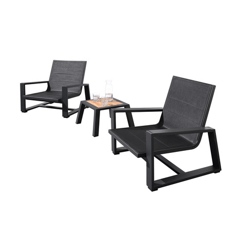 St Lucia // 3 Piece Outdoor Setting // Charcoal + Black