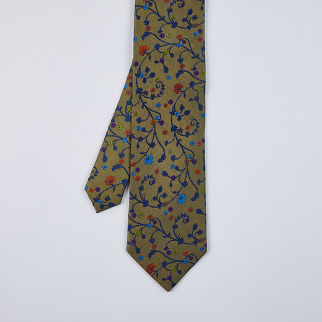 Small Floral Design Tie // Deep Gold