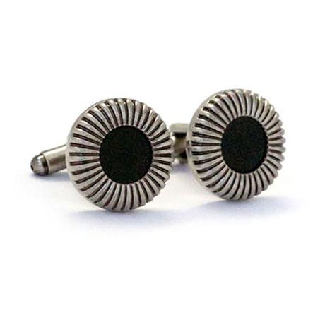 Floral Button Cufflink // Silver + Black