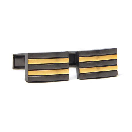Metallic Stripe Rectangle Cufflink // Gold