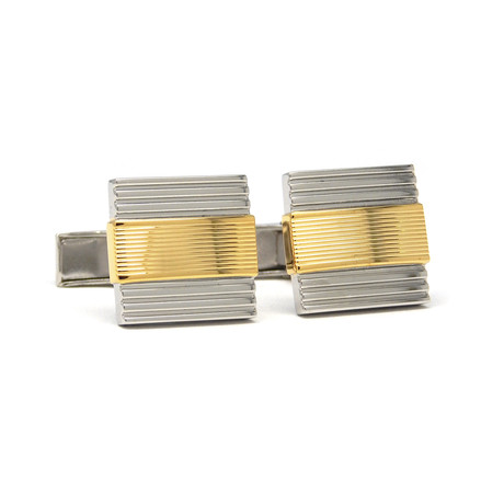 Two-Tone Rhodium Plated Cufflinks // Gold