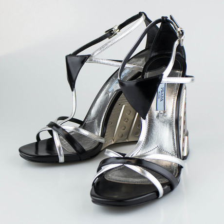 Prada // Leather Wedge Sandals // Silver