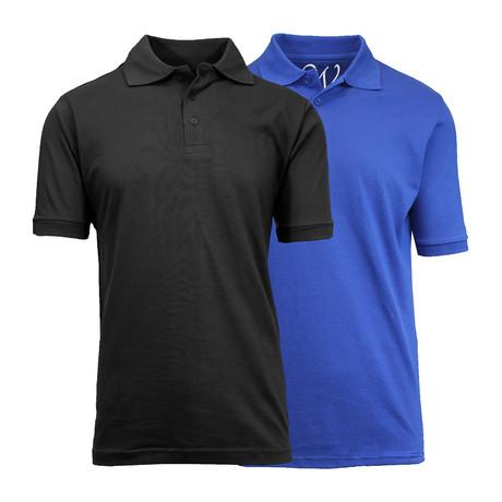 2-Pack Pique Polo // Black + Royal Blue