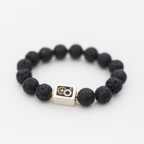 Lava + Silver Gear Box Bead Bracelet // 12MM // Black + Silver