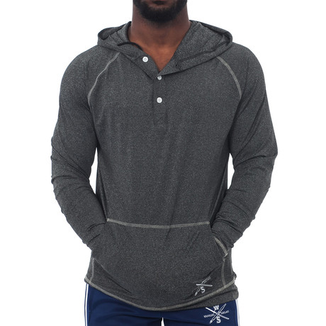 Ringside Fitness Tech Henley Hooded Pullover // Charcoal (XS)