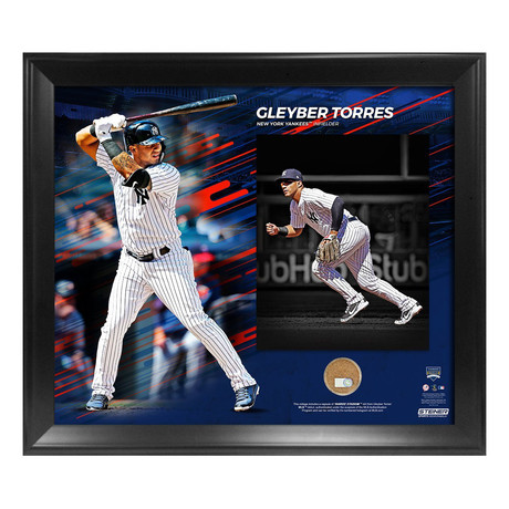 Gleyber Torres Photo + Yankee Stadium Game Day Dirt Collage