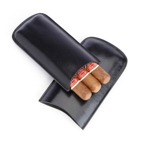 Three Slot Travel Cigar Case // Genuine Leather