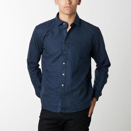 Long-Sleeve Floral Print Linen Shirt // Mood Indigo