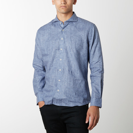 Solid Long-Sleeve Button Down // Bijou Blue