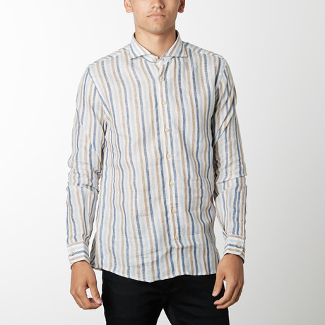 Awning Stripe Long-Sleeve Button Down // Cream