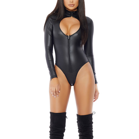 Perforated Mock Neck Bodysuit + Chest Cutout