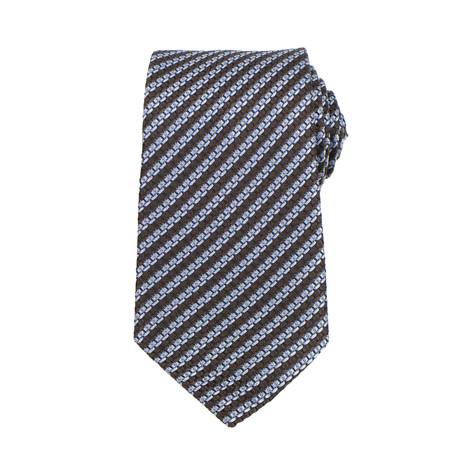 Ermenegildo Zegna // Striped Silk Woven Neck Tie // Brown + Blue