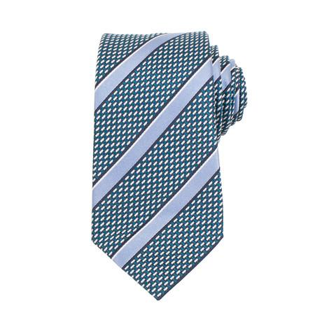 Ermenegildo Zegna // Striped Silk Basketweave Neck Tie // Teal Blue