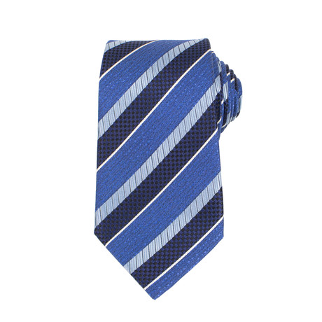 Ermenegildo Zegna // Striped Silk Woven Neck Tie // Blue