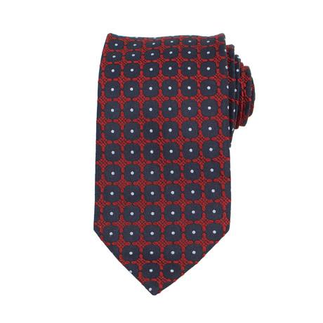 Ermenegildo Zegna // Medallion Silk Neck Tie // Red + Navy