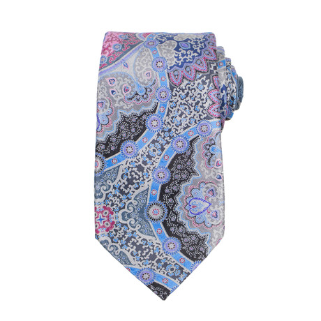 Ermenegildo Zegna // Quindici 15 Silk Neck Tie // Blue + Pink