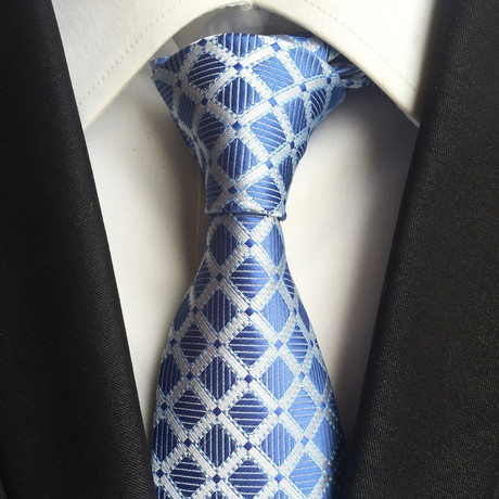 Handmade Silk Tie // Blue + White Check