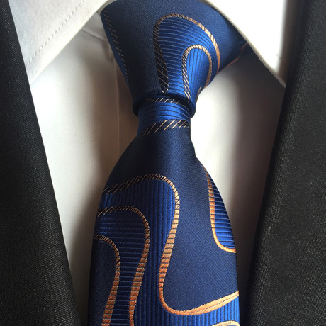 Angelo Swirl Silk Tie // Royal Blue + Gold