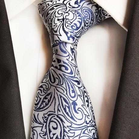 Shane Silk Tie // Silver + Blue Paisley