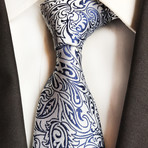 Shane Tie // Silver + Blue Paisley