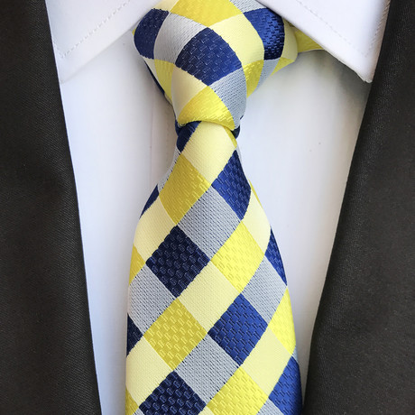 Brunner Silk Tie // Blue + Yellow