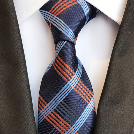 Reston Silk Tie // Navy + Blue + Orange