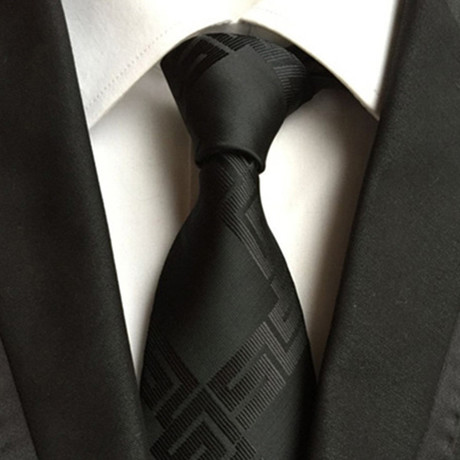 Mark Patterned Silk Tie // Black