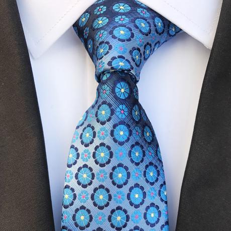 Handmade Silk Tie // Floral Print Baby Blue