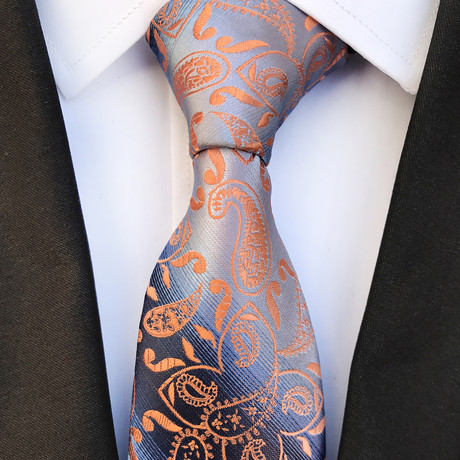 Arthur Paisley Silk Tie // Silver + Orange