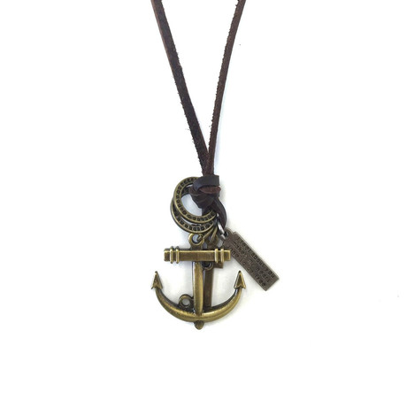Leather Necklace // Anchor