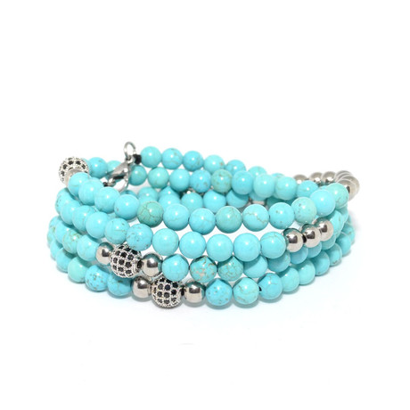 Turquoise And Silver Cubic Zirconia Necklace + Wrap Bracelet