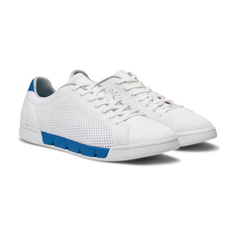 Breeze Tennis Knit Sneaker // White + Blitz Blue (US: 8)