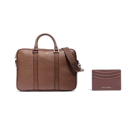 Leather Briefcase + Card Holder // Brown