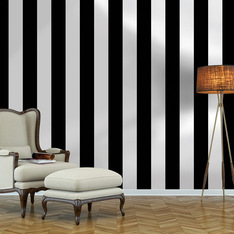 Stripes Black & White // Self-Adhesive Wallpaper // Repeel