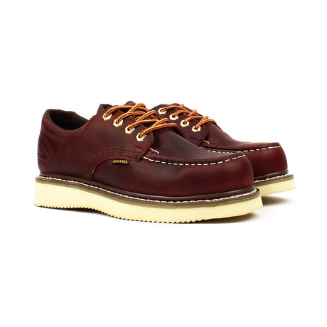 Mocc Toe Oxford Work Shoes // Burgundy