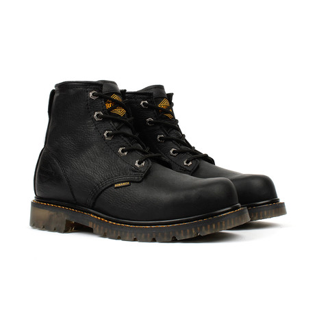 Unlined Plain Toe Work Boots // Black
