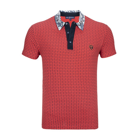 Hartford Short Sleeve Polo Shirt // Coral + Navy (S)