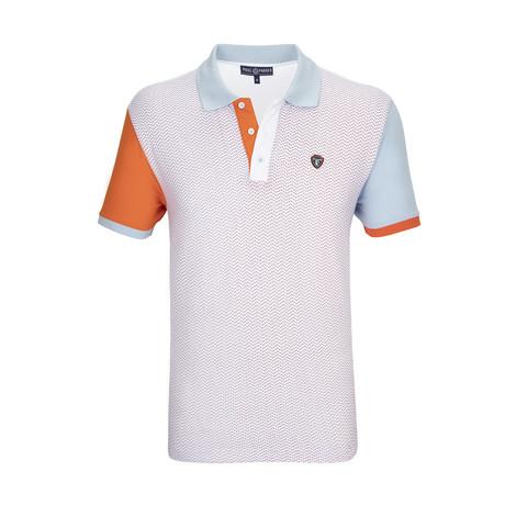Avalon Polo Shirt SS // White + Blue