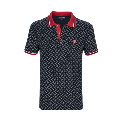 Nicasio Short Sleeve Polo Shirt // Navy + Red (S)