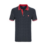 Nicasio Short Sleeve Polo Shirt // Navy + Red (M)