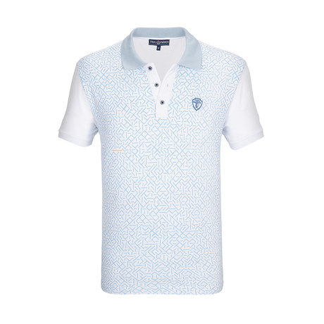 Raleigh Short Sleeve Polo Shirt // White + Blue (S)