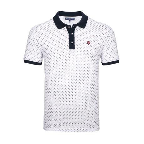 Harrisburg Polo Shirt SS // White + Navy