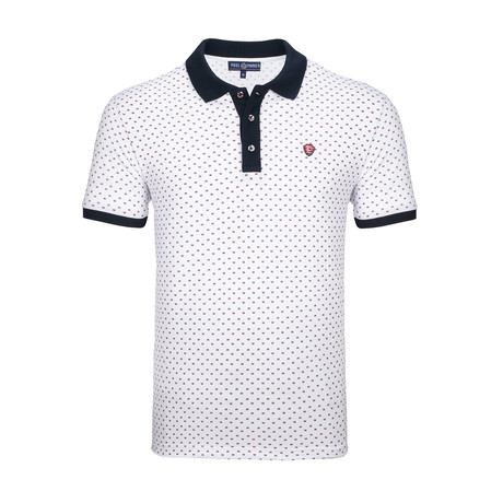 Harrisburg Short Sleeve Polo Shirt // White + Navy (S)