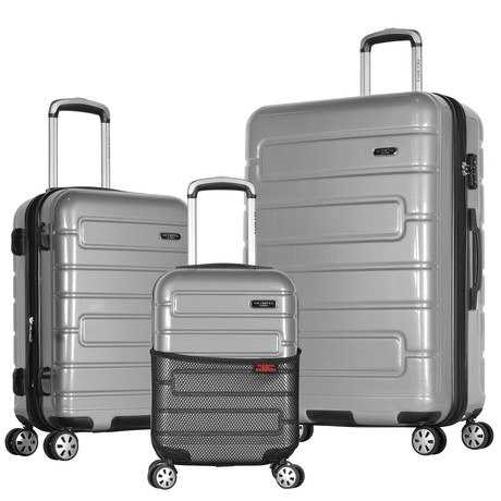 Nema 3-Piece Hardcase Luggage Set (Silver)