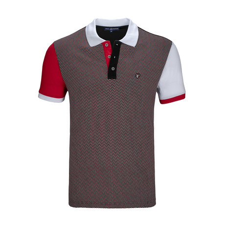 Belvedere Short Sleeve Polo Shirt // Black + Bordeaux + White (S)