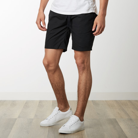Cotton Stretch Casual Drawstring Shorts // Black (S)