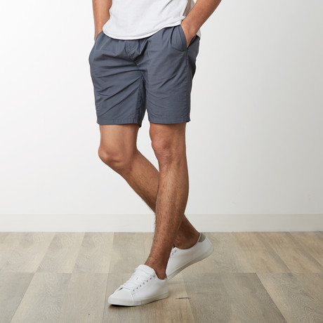 Cotton Stretch Casual Drawstring Shorts // Dark Gray (S)