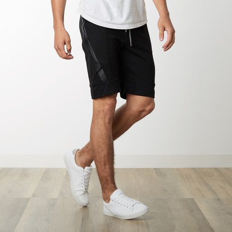 Slant Zipper Accent Sweatshorts // Black (S)