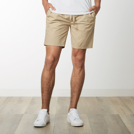 Cotton Stretch Casual Drawstring Shorts // Timber (S)