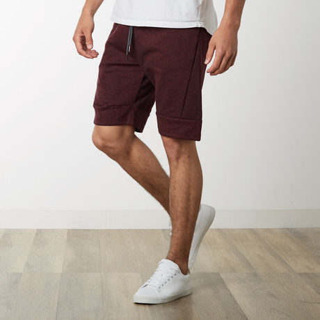 Slant Zipper Accent Sweatshorts // Burgundy (S)